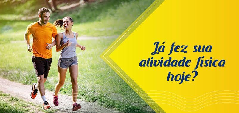 Pessoas correndo e frase Já fez atividade fisica hoje?